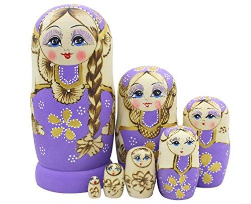 Set von 7 Zopf Mädchen Stapeln Spielzeug Russischen Puppe Handgefertigt Spielzeug aus Holz für Kinder Kinderzimmer Decor (Lila)
