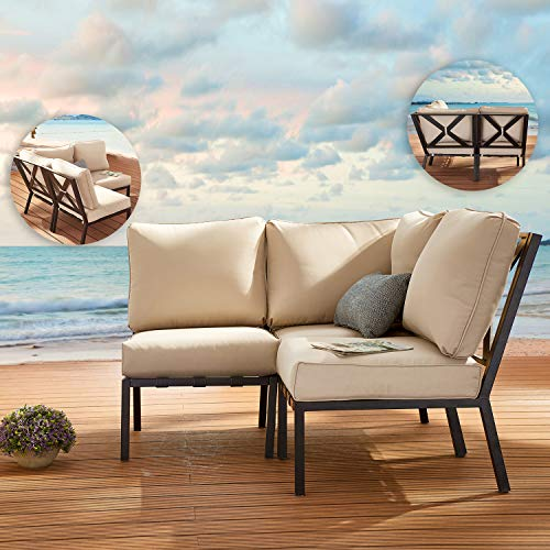 Festival Depot 3 Pieces Patio Sectional Corner Sofa Set Outdoor All-Weather Metal Chairs with Seating Back Cushions Garden Poolside(Beige)