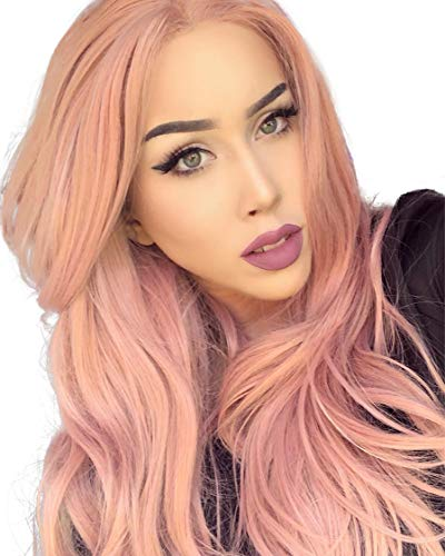 K'ryssma Fashion Orange Pink Lace Wig Mixed Color Glueless Long Natural Wavy Middle Parting Synthetic Lace Front Wigs For Women Half Hand Tied Heat Resistant 22 Inches