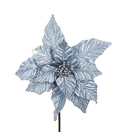 Kurt Adler BLUE GLITTERED POINSETTIA PICK
