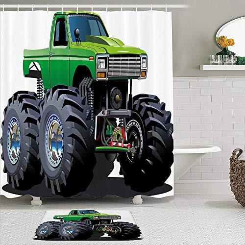 FOURFOOL Cortinas con Ganchos,Camioneta Pickup Monster Gigante con neumáticos Grandes y suspensión Extremadamente la Rueda más Grande,Decoraciones de Cortinas de Ducha Alfombra de Baño Moderno