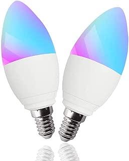 Smart WiFi Light Bulb E14 5W,App Control Candle Led Bulb,No Hub Required,Multicolor Light Bulb 40W Equivalent, WiFi Led Light Compatible with Alexa, Echo, Google Home and Siri(E14 2pack)