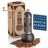 Coffee Grinder, Refillable Turkish Style Mill with Adjustable Grinder, Manual Coffee Mill with Handle, Antique Grinder Metal with Hand Crank, Adjustable Coarseness (Dark Silver)