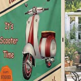 Vintage Static Cling Window Scooter Motorbike Summer Travel Italian City Sight Hipster Enjoy Ride Illustration Decorative Window Film Privacy 35.4 x 78.7 inch