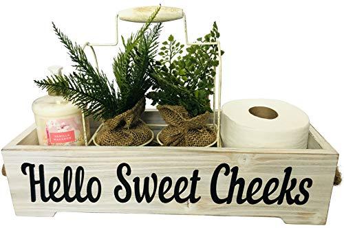 Farmhouse Bathroom Decor Box - Funny Hello Sweet Cheeks Rustic Shabby Chic Bathroom Decoration - Toilet Tank Accessories Holder - Rustic White