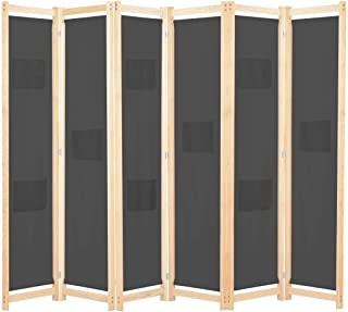 vidaXL Cloison de Séparation 6 Panneaux Séparateur de Pièce Paravent Brise-Vue Chambre à Coucher Maison Intérieur Gris 240...