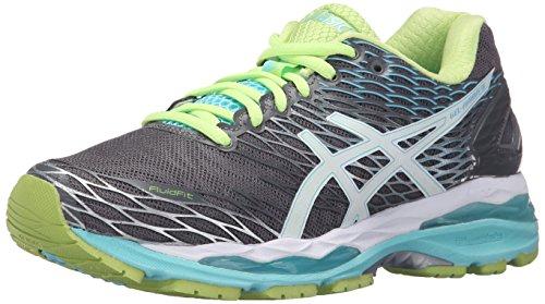 ASICS Zapatillas de running Gel-Nimbus 18 para mujer, (Titanio/Blanco/Turquesa), 37