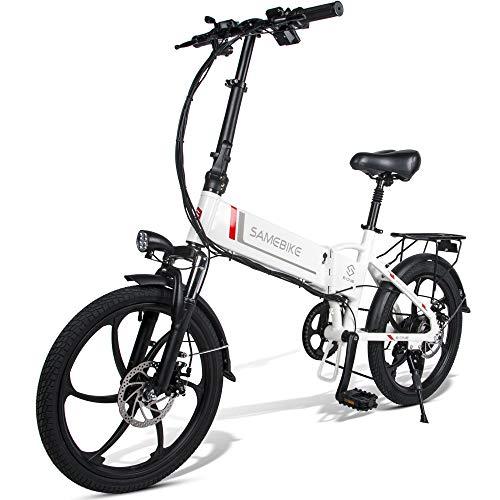 Fafrees [EU Stock] Bicicleta Eléctrica Plegable Inteligente 48V 350W LCD Bicicleta Eléctrica Ciclomotor Neumático de 20 Pulgadas (Carga USB 2.0 + Función de Alarma Antirrobo Remota) (Blanco)