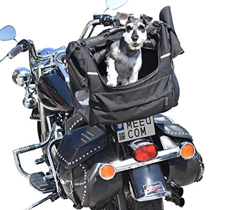 DEEMEED PETBAG Motorradtasche für Hunde und Katzen (8-11 kg), wasserdicht, tragbar, dreifach belüftet, für Sissy Bar, Gepäckablage oder Sitz, aus italienischem Cordura