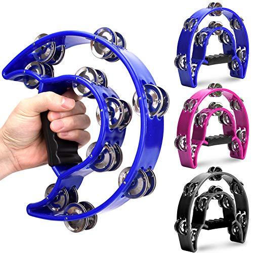 Facmogu 3 Pieces Half Moon Handheld Tambourine - Double Row Tambourine Metal Jingles Hand Held Percussion Instrument - Black, Blue, Purple