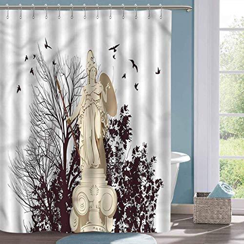 Juego de Cortinas de Ducha para baño, Cortinas de Ducha de árbol con Estatua de Atenas Griega Vintage