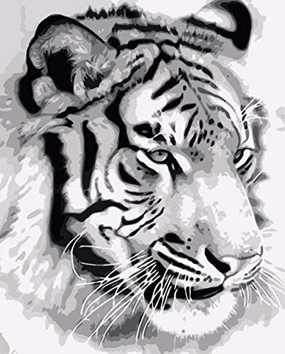 ABEUTY DIY Paint by Numbers for Adults Beginner - Black and White Tiger Head 16x20 inches Number Painting Anti Stress Toys (No Frame)