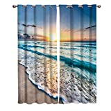 KAROLA Window Curtain 2 Panels Set Room Drapes Grommets Window Treatment Pair for Bedroom, Kitchen, Nursery, Living Room(Ocean Theme Sand Beach Wave Sea Water Pattern,40'x63')