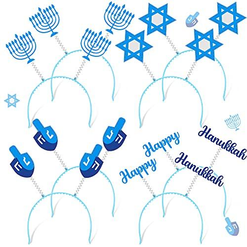 8 Pieces Hanukkah Headband Boppers Hanukkah Headbands Chanukah Headbands Accessories Hanukkah Dreidel Happy-Hanukkah Purim Menorah Star of David for Hanukkah Party Decor Purim Menorah