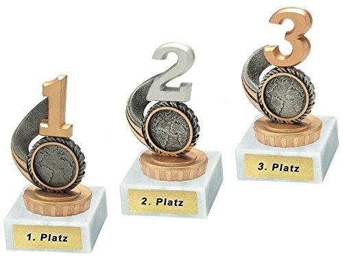 RaRu 3 Pokale für Viele Verschiedene Sportarten mit Gravur (1, 2. und 3. Platz) und 3 Anstecknadeln (Sticker) (Schützen)