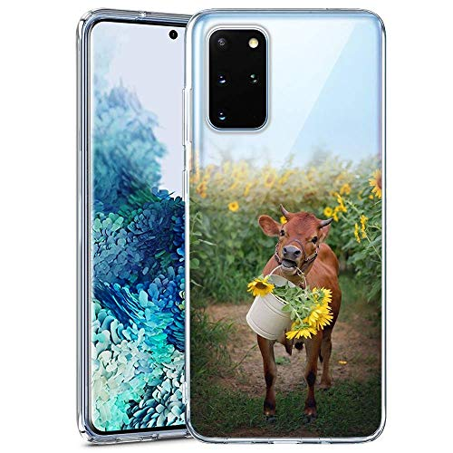 Samsung Galaxy S20 Plus Phone Case Fashion Anti-Scratch Soft Durable TPU Ultra-Clear Silicone UV Printing Protective Cows and Sunflowers Phone Case for Samsung Galaxy S20 Plus
