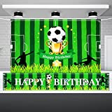 Football Theme Birthday Decorations Set Includes 5 x 3 Feet Football Field Happy Birthday Backdrop and Soccer Happy Birthday Banner for Boys Birthday Soccer Theme Party Photo Booth Props Wall Hanging