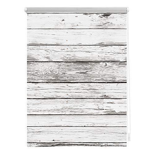 Lichtblick KRT.120.150.304 Rollo Klemmfix, ohne Bohren, Blickdicht, Bretter-Vintage Weiß, 120 x 150 cm (B x L)