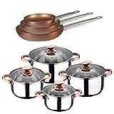 San Ignacio BATERIA Cocina 8 PCS SIP + Set 3 SARTENES Professional Chef Copper Plus 20, 24 Y 28, Cromado, Talla única
