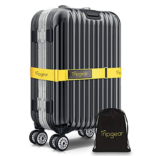 Tripgear Premium Luggage Strap - Luggage Belt with extra strong Fastener (Yellow - 1pc + velvet bag)
