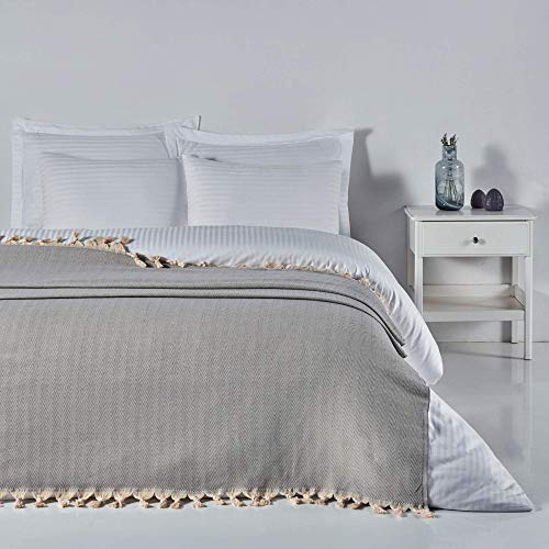 ElfRoutes Manta para sofá y cama – Manta muy grande (200 x 240 cm) – 100% algodón – Manta grande para cama doble – Manta para sofá grande de 3 plazas – Manta para sofás – Color Cris