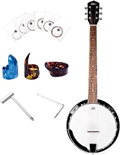 ADM 6-String Banjo 24 Bracket with Closed Solid Wood Back, Banjo Beginner Kit with Picks and Extra Strings