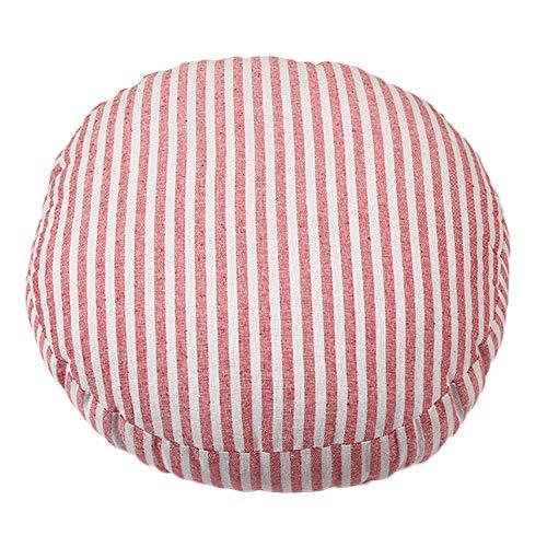 Coton et lin coussin laver à la machine oreiller de sol rond, tapis de bureau en coton (Couleur : Red Stripe1)