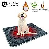 Cómoda manta autocalentable para mascotas Calentador y lavable y lavable sin electricidad Diseño cálido de cinco capas, para sofás Pisos Camas para mascotas Autos terrestres (XL-115*75CM, café)