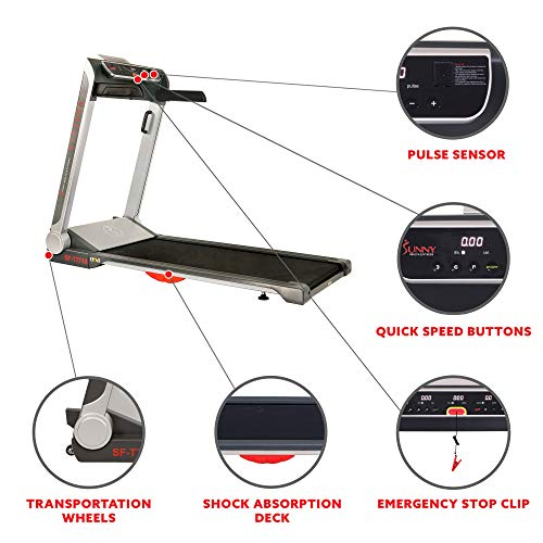 Sunny Health & Fitness Electric Slim Folding Running Treadmill with Wide Belt, Tablet Holder, Speakers, 250 LB Max Weight, No Assembly - Strider, SF-T7718