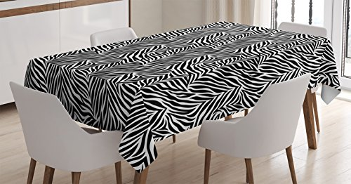 "Ambesonne Zebra Print Tablecloth, Animal Print Zebra Pattern Monochrome Style Exotic Simplistic Illustration, Rectangular Table Cover for Dining Room Kitchen Decor, 60"" X 90"", Black White"