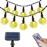 Solar Lichterkette Aussen,FethFire 17M 100 LED Solar Garten Lichterkette mit Fernbedienung,32-95 Stunden, 8 Modi, Deko für Garten, Bäume, Terrasse, Weihnachten, Hochzeiten, Partys (Warmweiß)