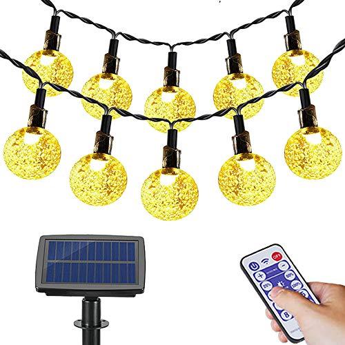 Solcellsljusslinga, utomhus, FethFire 17 m 100 LED solcellsslinga, utom med fjärrkontroll, 32–95 timmar, 8 lägen, dekoration för trädgård, träd, terrass, jul, bröllop, fester[energiklass A+++]