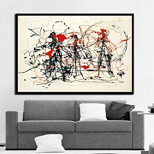 Unbekannt Gemälde Kunst Jackson Pollock Abstrakte Malerei Psychedelic Poster and Prints Leinwand Wandbilder-50x70 cm No Frame