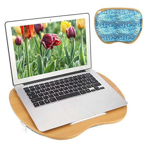 Lap Laptop Desk - Portable Memory Foam Lap Tray with Pillow Cushion,Fits up to 15.6 inch for Food Book Laptop Tablet Stand, with Anti-Slip Strip for Home Office Students(Ocean)