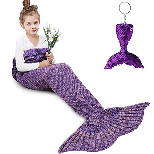 AmyHomie Mermaid Tail Blanket, Crochet Knitting Mermaid Blanket, Mermaid Tail Blanket for Kids All Seasons Sleeping Blankets for Girls (55x28in Purple)