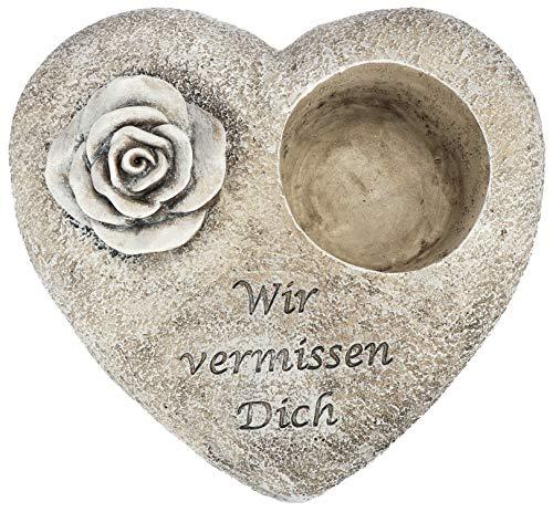 com-four® Grab Dekoration Rose, Gedenkstein mit Halter für Grablicht oder Trauergesteck, wetterfester Grabschmuck, Trauerstein mit Gedenkspruch (1 Stück - Rose Wir vermissen Dich)