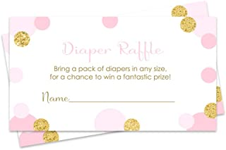 diaper raffle tickets pink and gold