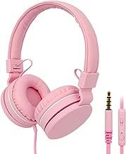 Kids Headphones, RegeMoudal Wired Kids Headphones, Volume Limited Kids On-Ear Headphones,Built-in Mic Stereo Tangle-Free 3.5MM Jack, Perfect for Children/Teens/Boys/Girls/School/Kindle/Tablet (Pink)