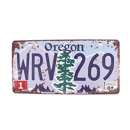 Metal tin sign 6X12 INCHES Vintage Feel Rustic Home,Bathroom and Bar Wall Decor Car Vehicle License Plate Souvenir Metal Tin Sign Plaque (Oregon WRV 269)