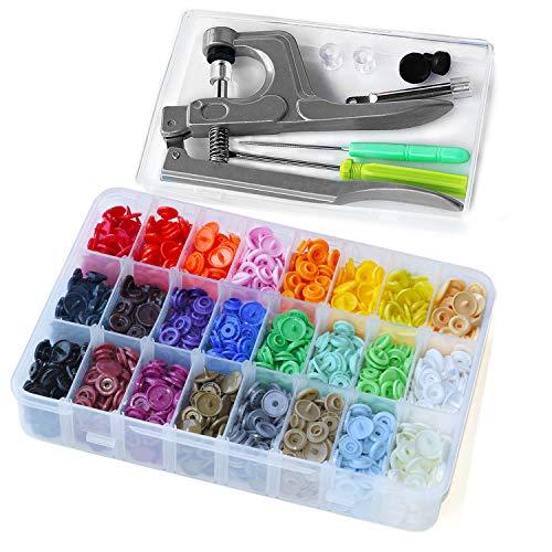 KAM Druckknöpfe mit SNAPS Zange, RERI 360 Set T5 Druckknopf in 24 Farben für DIY Basteln (Druckknöpfe mit SNAPS Zange)