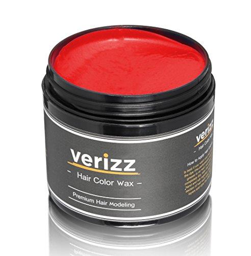 Verizz Farbiges Haarwachs (Rotes Haarwachs) | Bunter, roter Wachs für Haare | Temporäres Haare-Färben in aktuellen Modefarben | Haar-Wachs in attraktiven Farben | Neuartiges Haarfärbesystem (Rot)
