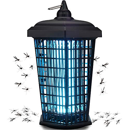 Bug Zapper Outdoor Mosquito Trap Fly Killer, 4200v Electric Insect Lamp Catcher 30W Powerful for Flies Waterproof - Dusk to Dawn Sensor Electronic Light Bulb for Garden, Patio Large,1 Acre, Plug in
