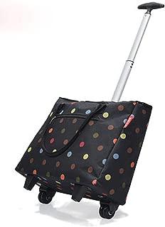 DQMSB Folding Portable Shopping Carts Ultra Lightweight Folding Waterproof Oxford Cloth Carts Aluminum Alloy Rods 431686cm (Color : Black, Size : 43cm16cm35cm)