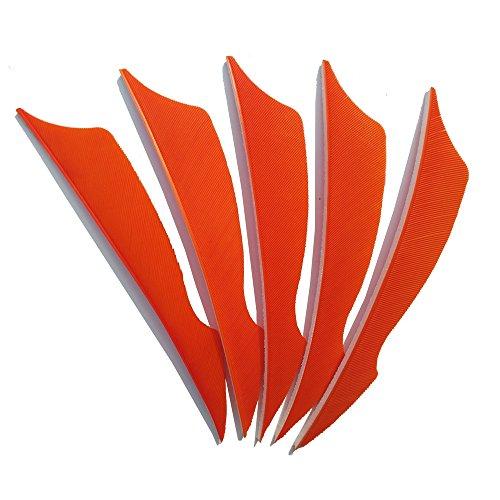 SHARROW 50pcs Tiro con Arco Plumas de Flecha 4 Pulgadas Pluma Natural Fletching (Naranja)