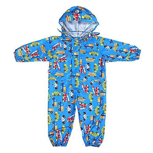 Gagacity Pioggia Completo Bambini Pioggia Cappotto Impermeabile Impermeabile in Un Unico Pezzo 75-135cm Blu/M