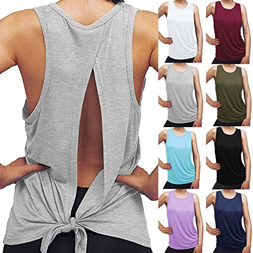 Ladies Tank Top Fitness Sportswear Vest Breathable Leisure Yoga Clothes Gym Workout Wear Solid Color Sleeveless Vest Open Back T Shirt
