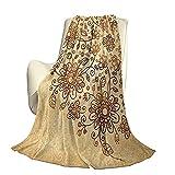 Henna Manta de Cama de Lujo de Microfibra súper Suave y cómoda Arreglo Floral de garabatos Ilustración Inspirada en la Naturaleza Tradicional Colores Suaves Manta antiestática Liviana de alt