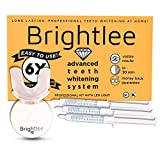 Brightlee Teeth Whitening Kit with LED Light - For Tooth Whitening Long Lasting for 6 Shades Whiter in 2 Days, Better than White Strips plus UV Light