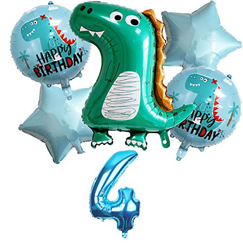 Globo de dinosaurio grande para 4 años, decoración para cumpleaños infantiles, decoración de cumpleaños infantil, decoración de cumpleaños para niños y niñas