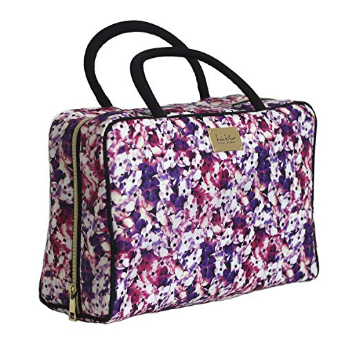 Nicole Miller Makeup Bag, Travel and Toiletry Bag, Large Cosmetic Bag with Zippered, Transparent Pockets and Handles, Foldable Makeup Bag for Home and Travel (Colorful Flower Print with Black Handles)